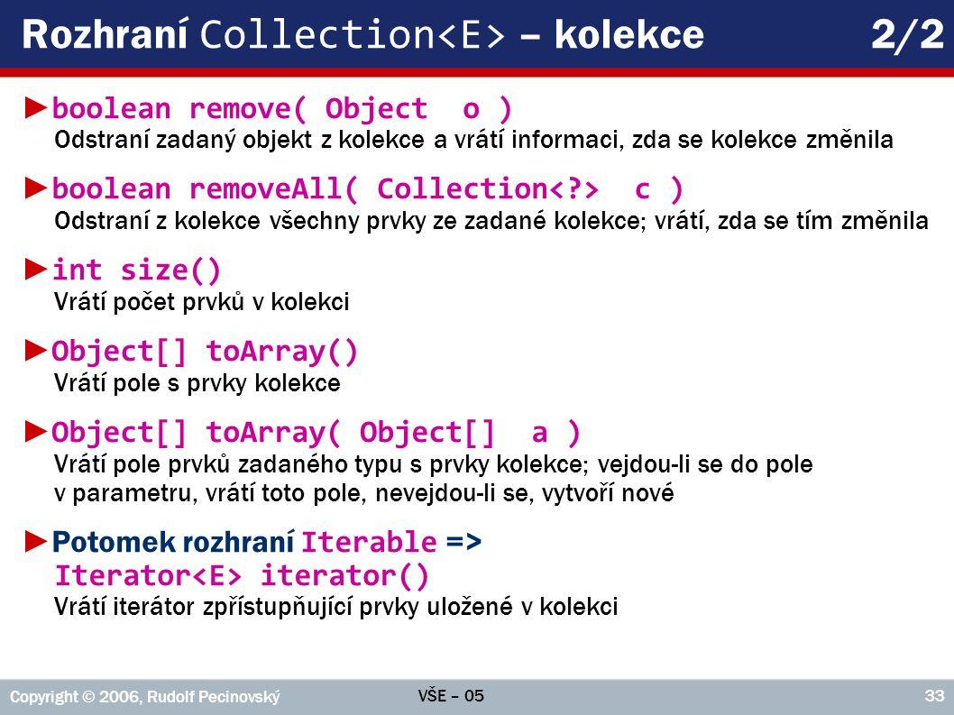 Rozhraní Collection<E> – kolekce 2/2