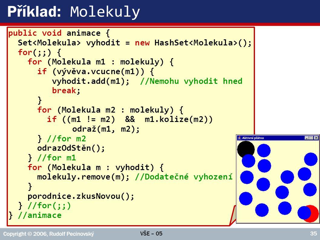Příklad: Molekuly public void animace {
