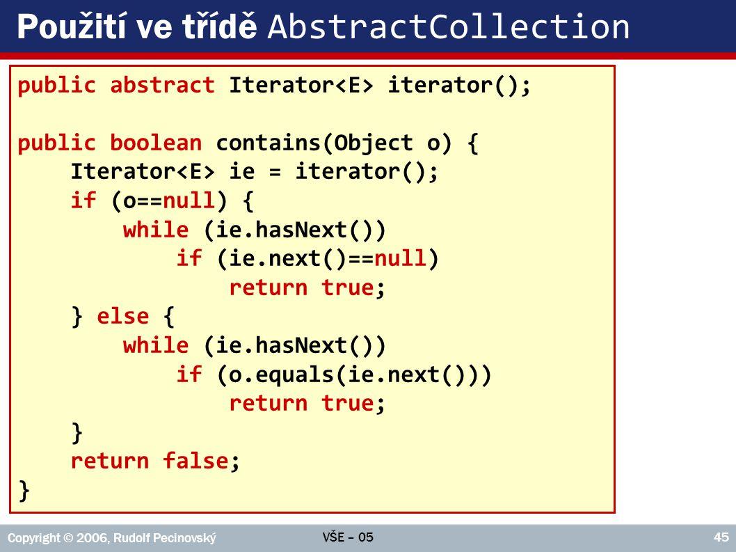 Použití ve třídě AbstractCollection