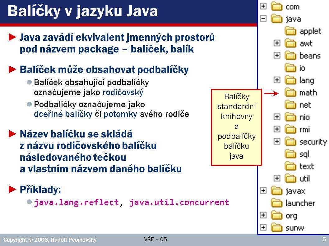 Balíčky v jazyku Java Java zavádí ekvivalent jmenných prostorů pod názvem package – balíček, balík.