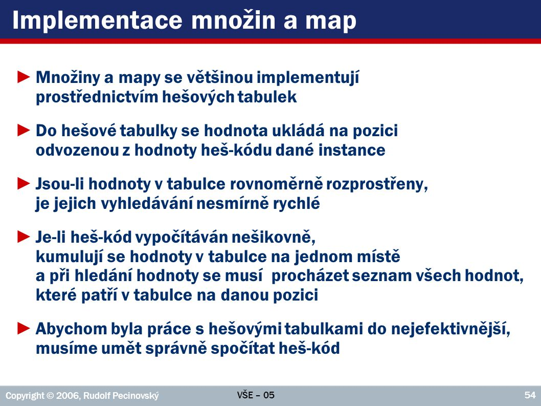 Implementace množin a map