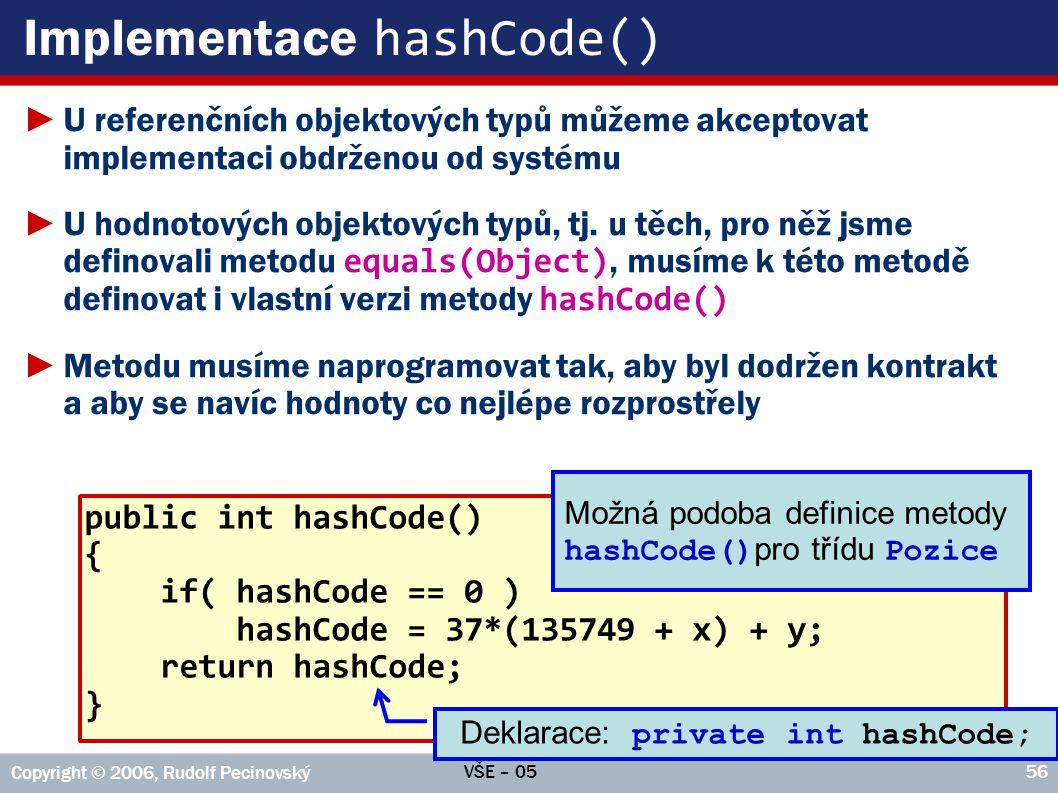 Implementace hashCode()