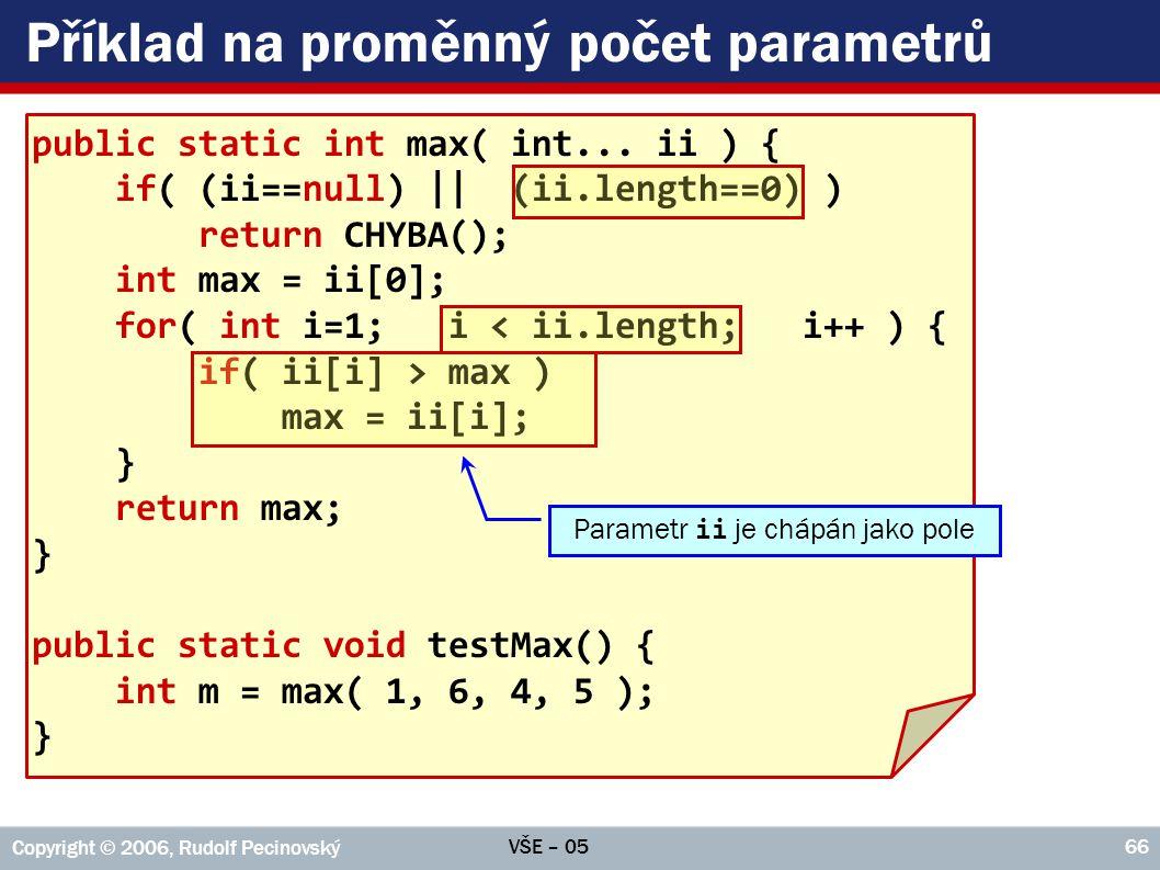Příklad na proměnný počet parametrů