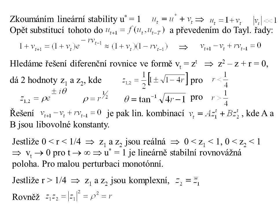 Zkoumáním lineární stability u. = 1. . Opět substitucí tohoto do