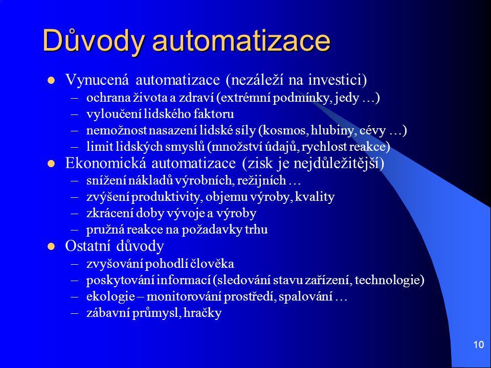 Důvody automatizace Vynucená automatizace (nezáleží na investici)