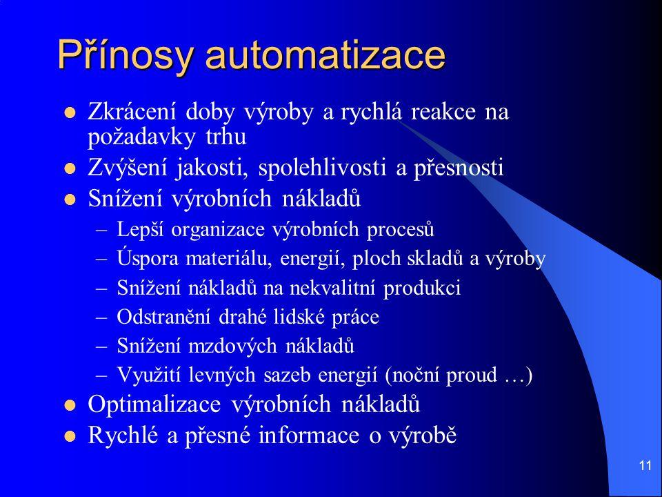 Přínosy automatizace Zkrácení doby výroby a rychlá reakce na požadavky trhu. Zvýšení jakosti, spolehlivosti a přesnosti.