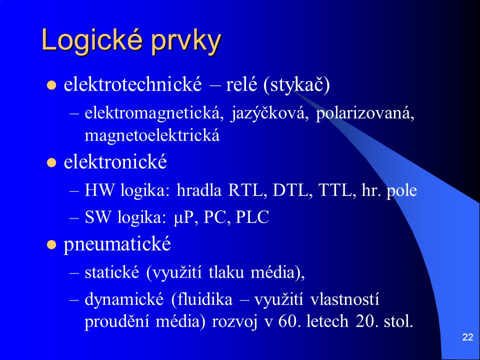 Logické prvky elektrotechnické – relé (stykač) elektronické
