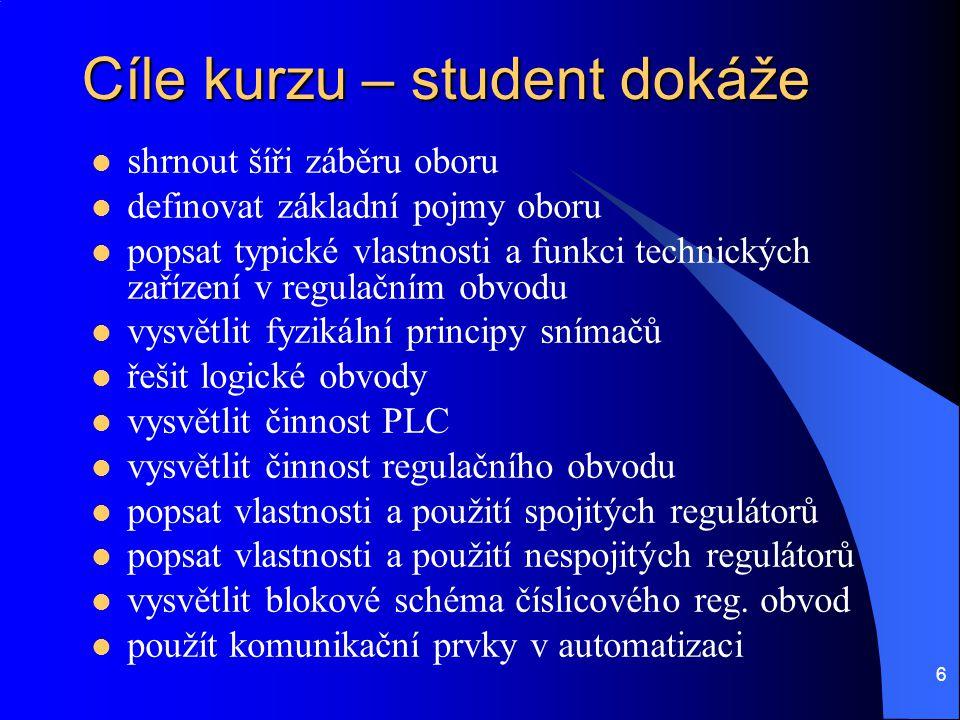 Cíle kurzu – student dokáže
