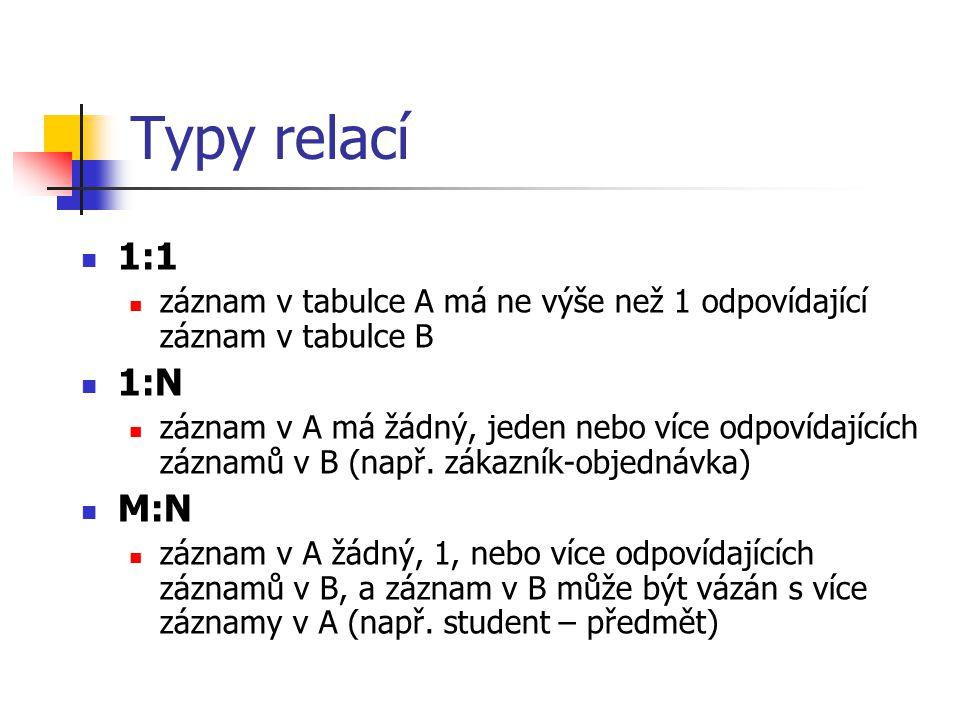 Typy relací 1:1. záznam v tabulce A má ne výše než 1 odpovídající záznam v tabulce B. 1:N.