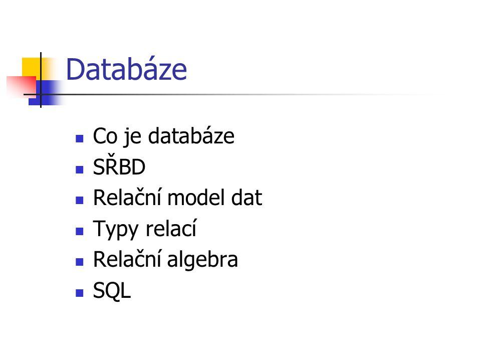 Databáze Co je databáze SŘBD Relační model dat Typy relací