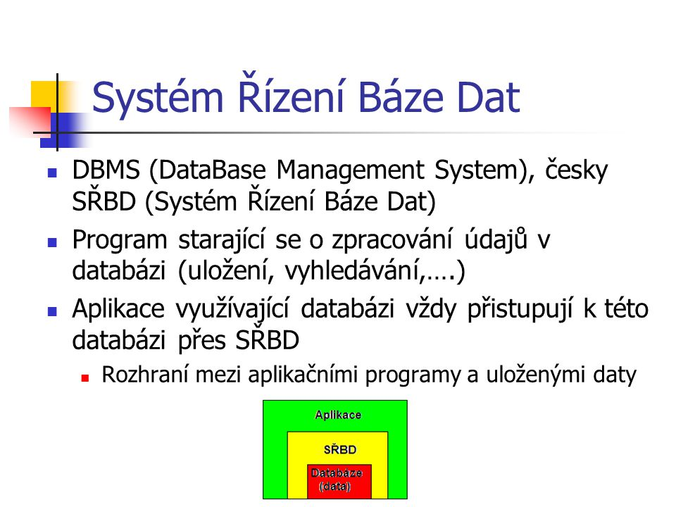 Systém Řízení Báze Dat DBMS (DataBase Management System), česky SŘBD (Systém Řízení Báze Dat)