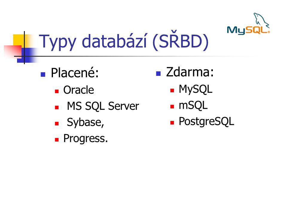 Typy databází (SŘBD) Placené: Zdarma: Oracle MySQL MS SQL Server mSQL