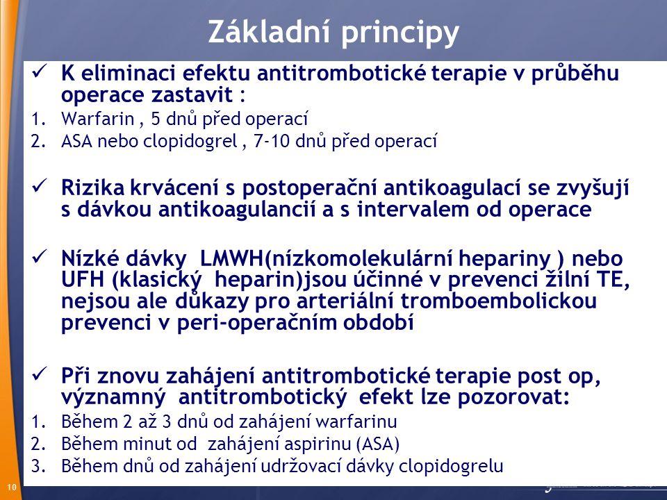 Základní principy K eliminaci efektu antitrombotické terapie v průběhu operace zastavit : Warfarin , 5 dnů před operací.