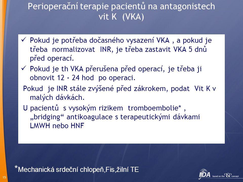 Perioperační terapie pacientů na antagonistech vit K (VKA)