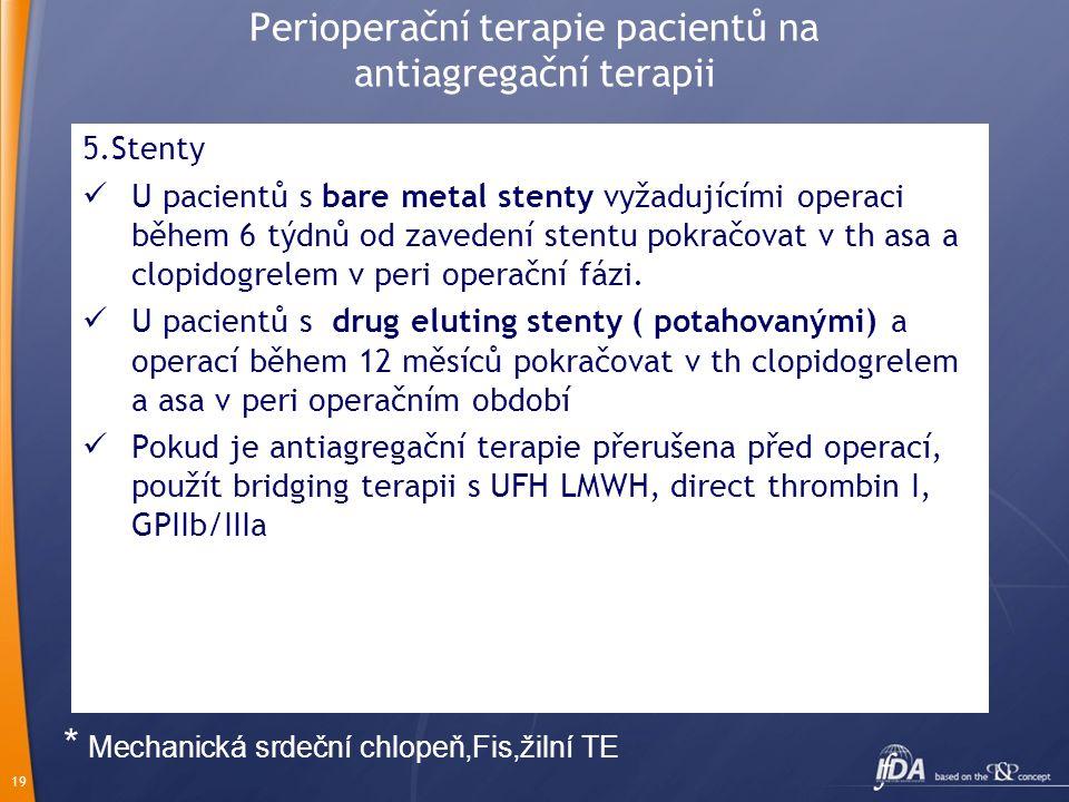 Perioperační terapie pacientů na antiagregační terapii