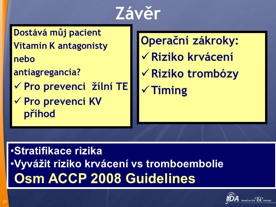 Závěr Osm ACCP 2008 Guidelines Operační zákroky: Riziko krvácení