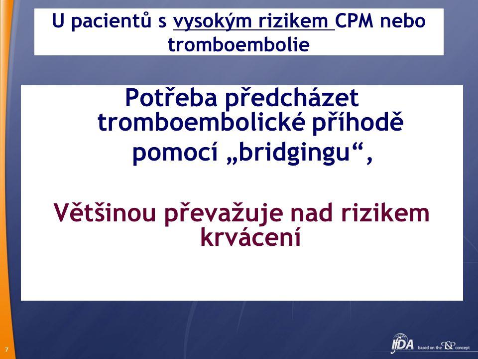 U pacientů s vysokým rizikem CPM nebo tromboembolie