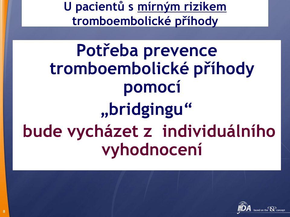 U pacientů s mírným rizikem tromboembolické příhody