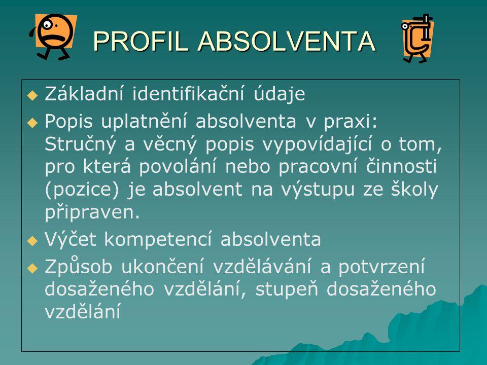 PROFIL ABSOLVENTA Základní identifikační údaje