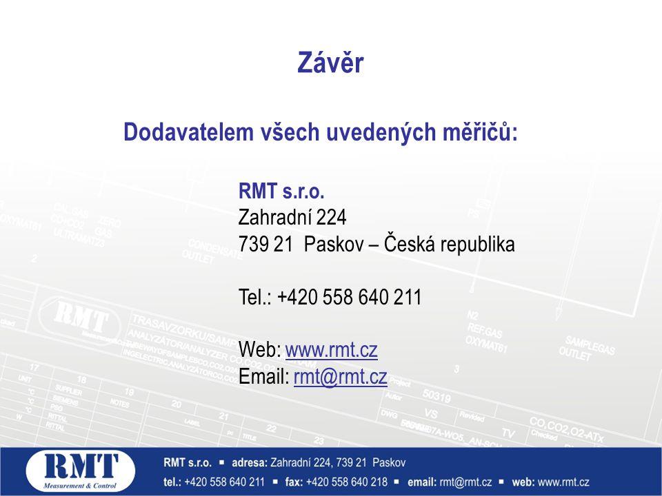 Závěr Dodavatelem všech uvedených měřičů: RMT s.r.o. Zahradní 224