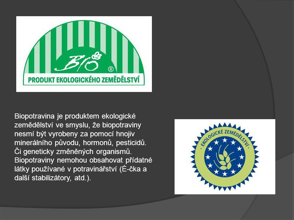 Biopotravina je produktem ekologické zemědělství ve smyslu, že biopotraviny nesmí být vyrobeny za pomocí hnojiv minerálního původu, hormonů, pesticidů.