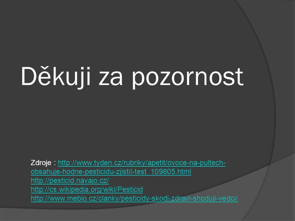 Děkuji za pozornost Zdroje : http://www.tyden.cz/rubriky/apetit/ovoce-na-pultech-obsahuje-hodne-pesticidu-zjistil-test_109805.html.