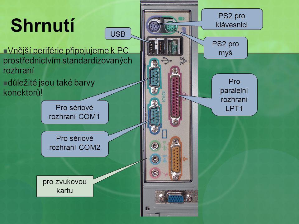 PS2 pro klávesnici Shrnutí. USB. PS2 pro myš. Vnější periférie připojujeme k PC prostřednictvím standardizovaných rozhraní.
