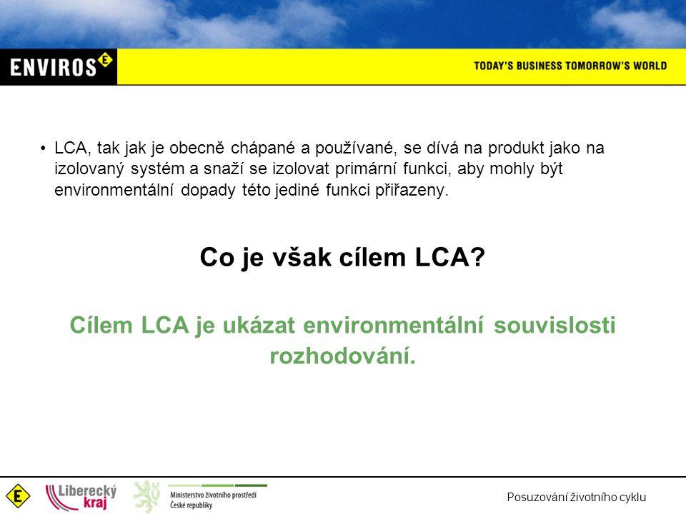 Cílem LCA je ukázat environmentální souvislosti rozhodování.