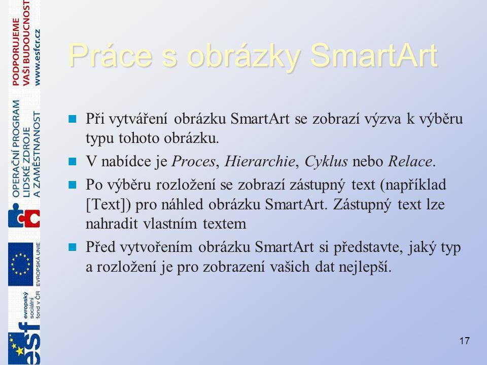 Práce s obrázky SmartArt