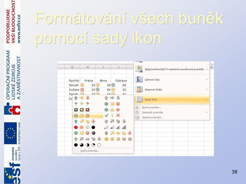 Formátování všech buněk pomocí sady ikon