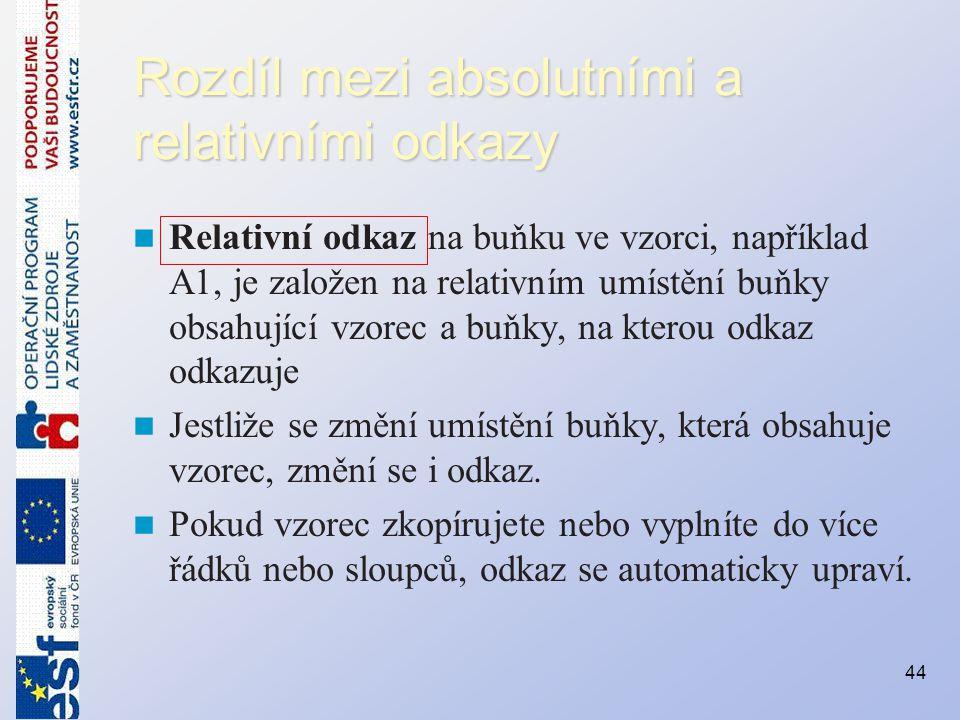 Rozdíl mezi absolutními a relativními odkazy
