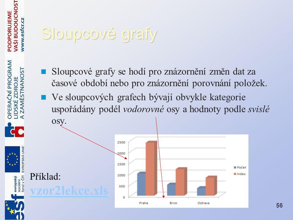 Sloupcové grafy Sloupcové grafy se hodí pro znázornění změn dat za časové období nebo pro znázornění porovnání položek.