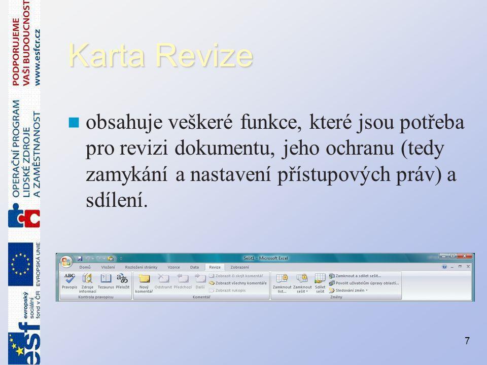 Karta Revize obsahuje veškeré funkce, které jsou potřeba pro revizi dokumentu, jeho ochranu (tedy zamykání a nastavení přístupových práv) a sdílení.