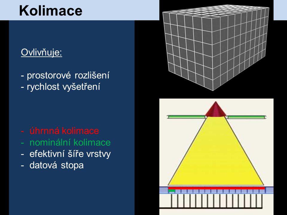 Kolimace Ovlivňuje: prostorové rozlišení rychlost vyšetření