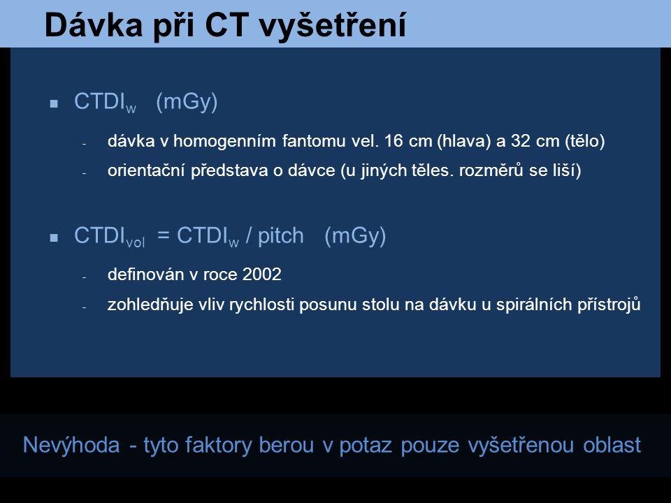 Dávka při CT vyšetření CTDIw (mGy) CTDIvol = CTDIw / pitch (mGy)