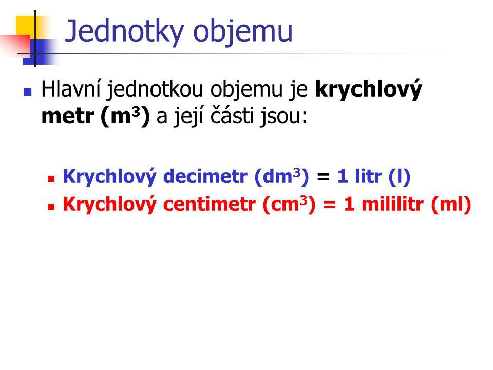 Jednotky objemu Hlavní jednotkou objemu je krychlový metr (m3) a její části jsou: Krychlový decimetr (dm3) = 1 litr (l)