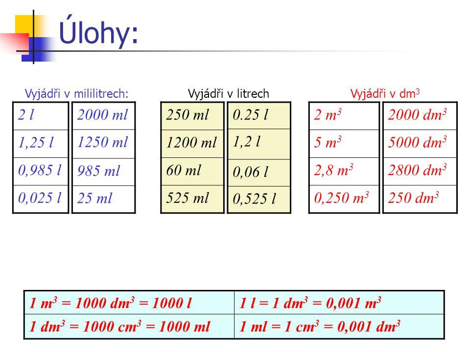 Úlohy: 2 l 1,25 l 0,985 l 0,025 l 2000 ml 1250 ml 985 ml 25 ml 250 ml
