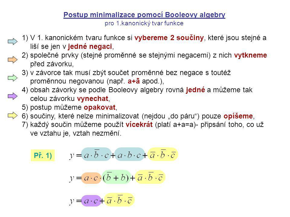 Postup minimalizace pomocí Booleovy algebry