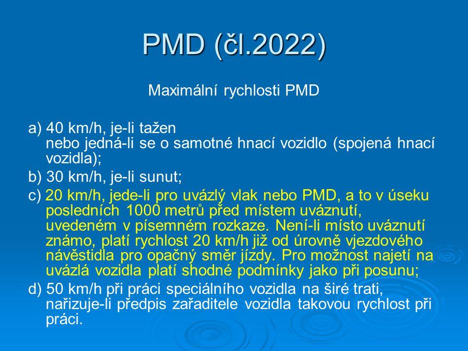 Maximální rychlosti PMD