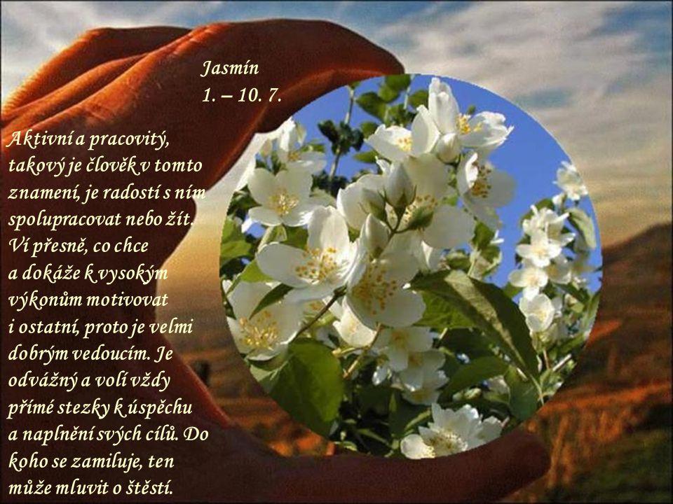 Jasmín 1. – 10. 7. Aktivní a pracovitý, takový je člověk v tomto znamení, je radostí s ním spolupracovat nebo žít. Ví přesně, co chce.