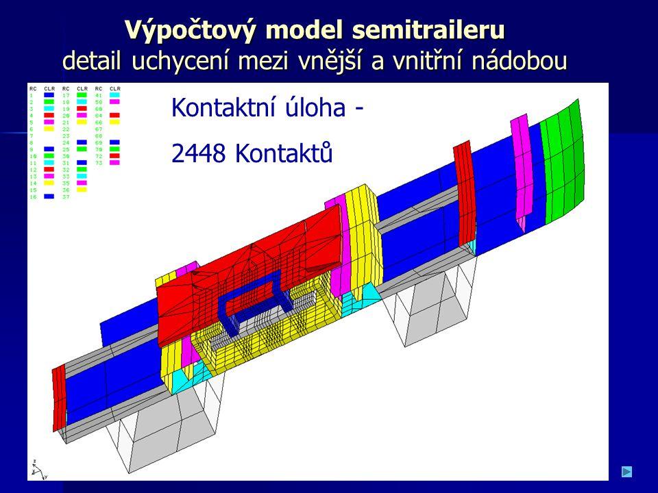 Výpočtový model semitraileru detail uchycení mezi vnější a vnitřní nádobou