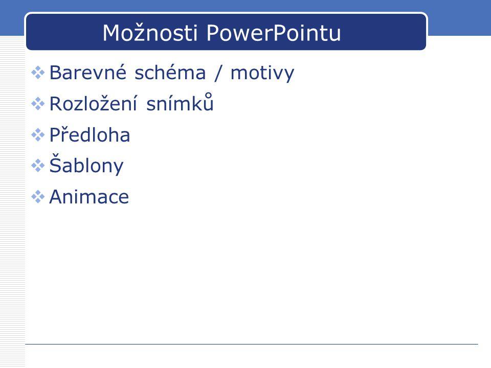 Možnosti PowerPointu Barevné schéma / motivy Rozložení snímků Předloha