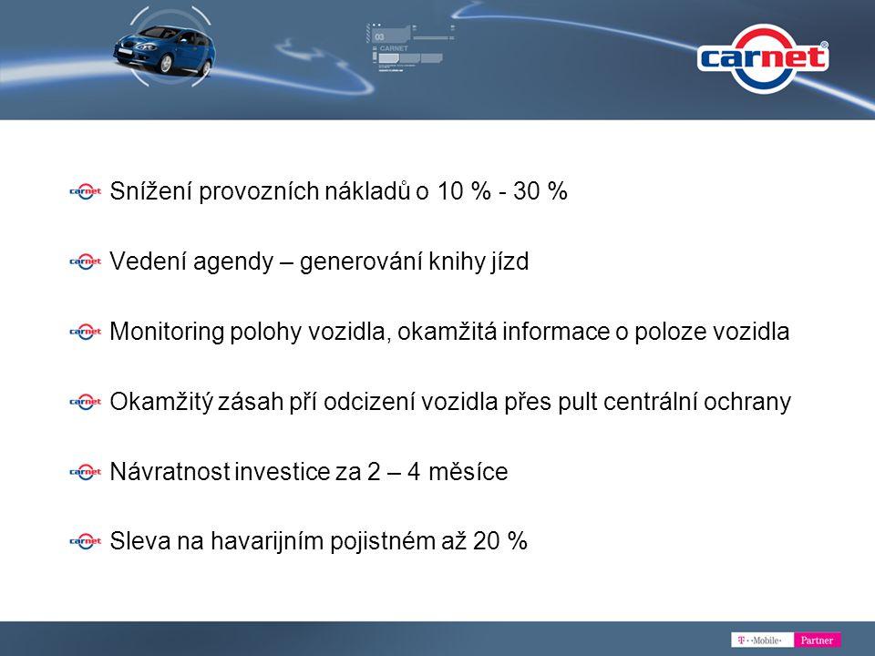 Snížení provozních nákladů o 10 % - 30 %