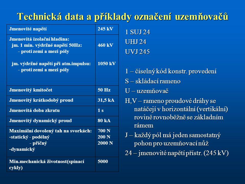 Technická data a příklady označení uzemňovačů