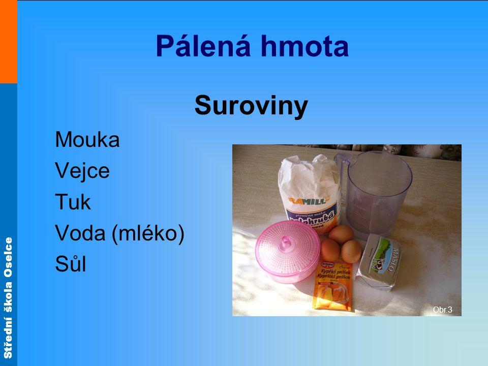 Pálená hmota Suroviny Mouka Vejce Tuk Voda (mléko) Sůl Obr.3