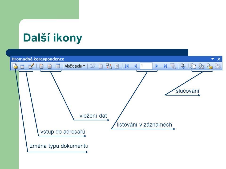 Další ikony slučování vložení dat listování v záznamech
