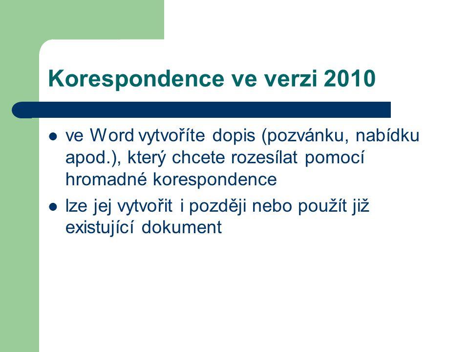 Korespondence ve verzi 2010