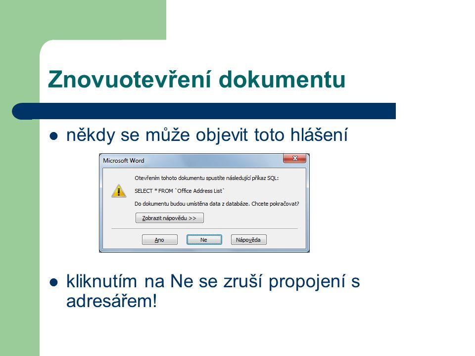 Znovuotevření dokumentu