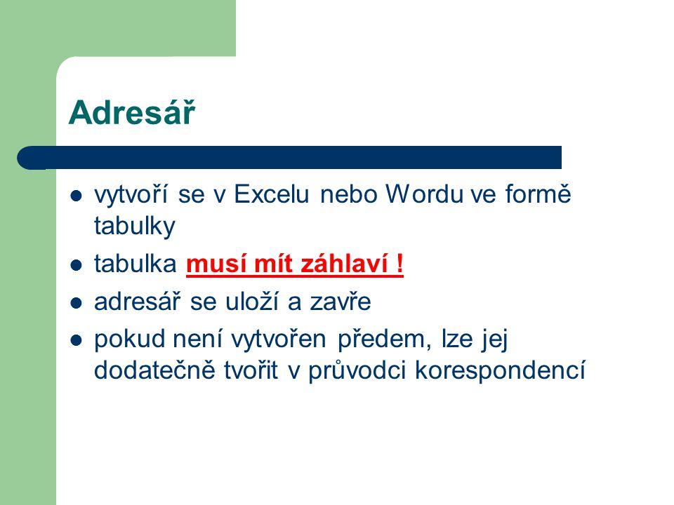 Adresář vytvoří se v Excelu nebo Wordu ve formě tabulky