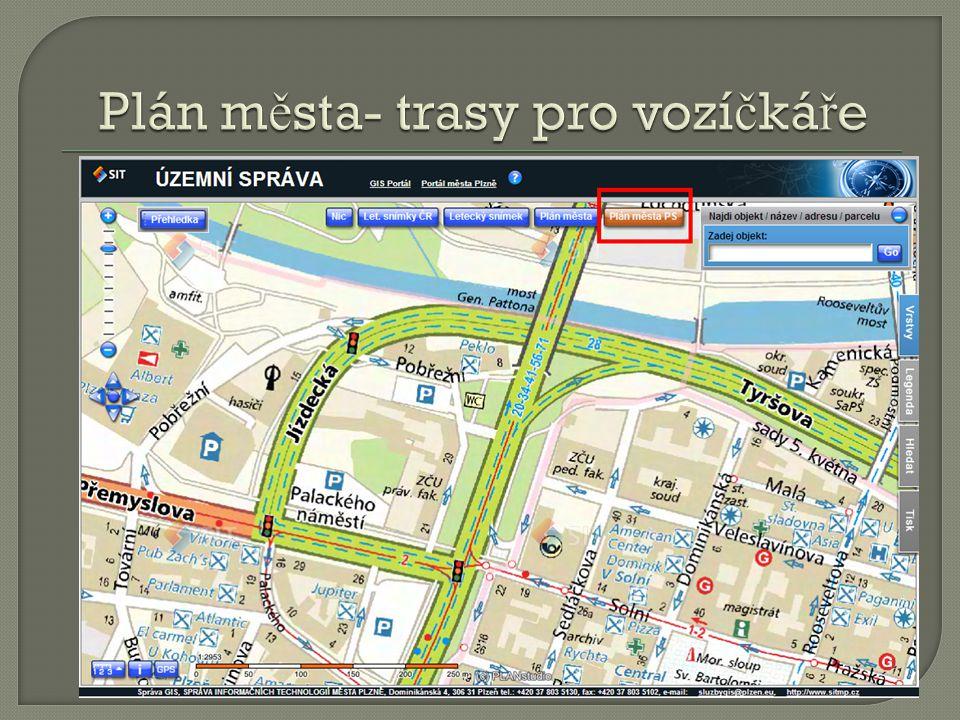 Plán města- trasy pro vozíčkáře